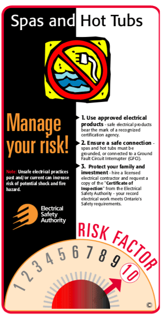 Infographic warning about the dangers of an improperly installed hot tub or spa