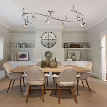 track lighting over a dining room table